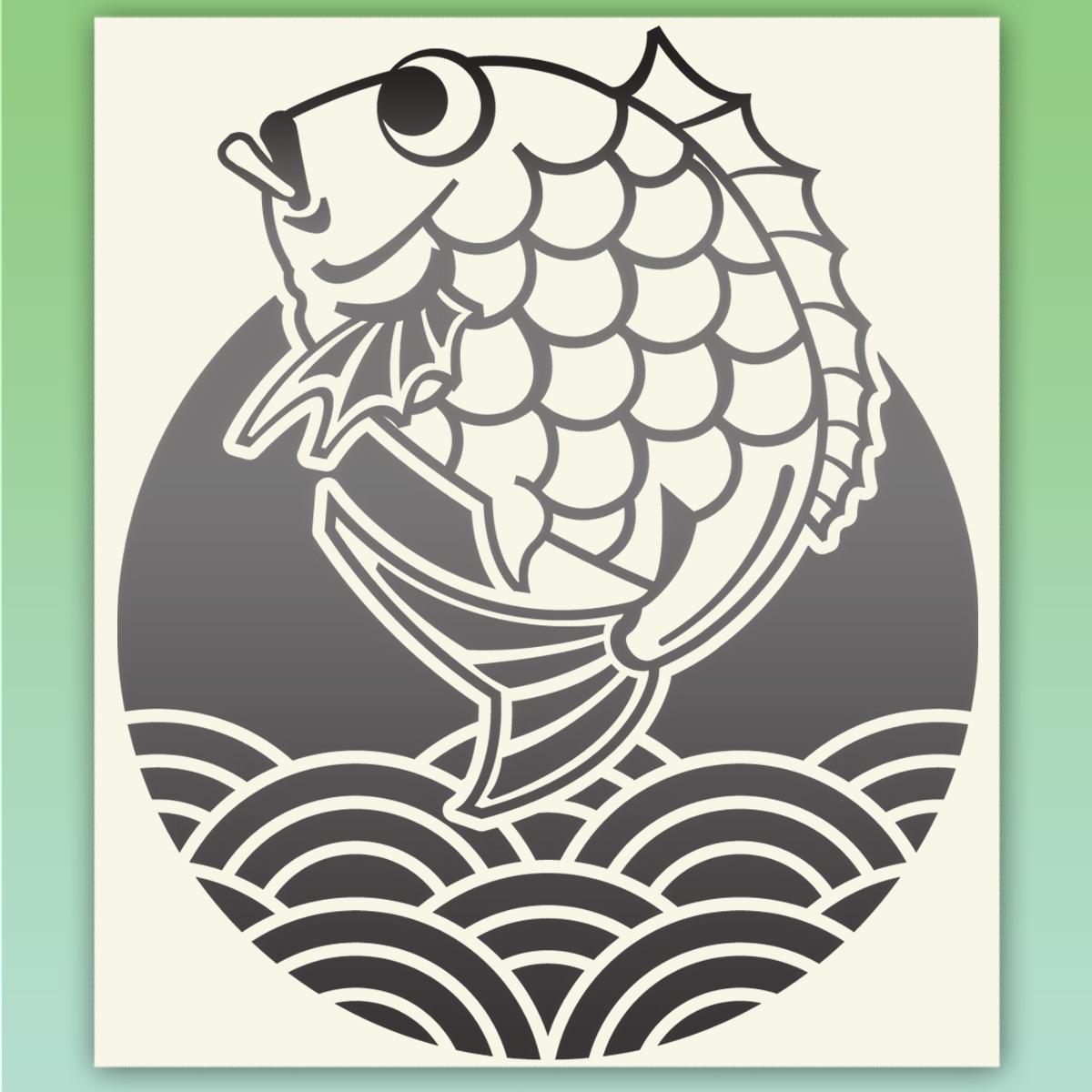 鯛と青海波 釣り フィッシングステッカー 金色または銀色  516_画像2