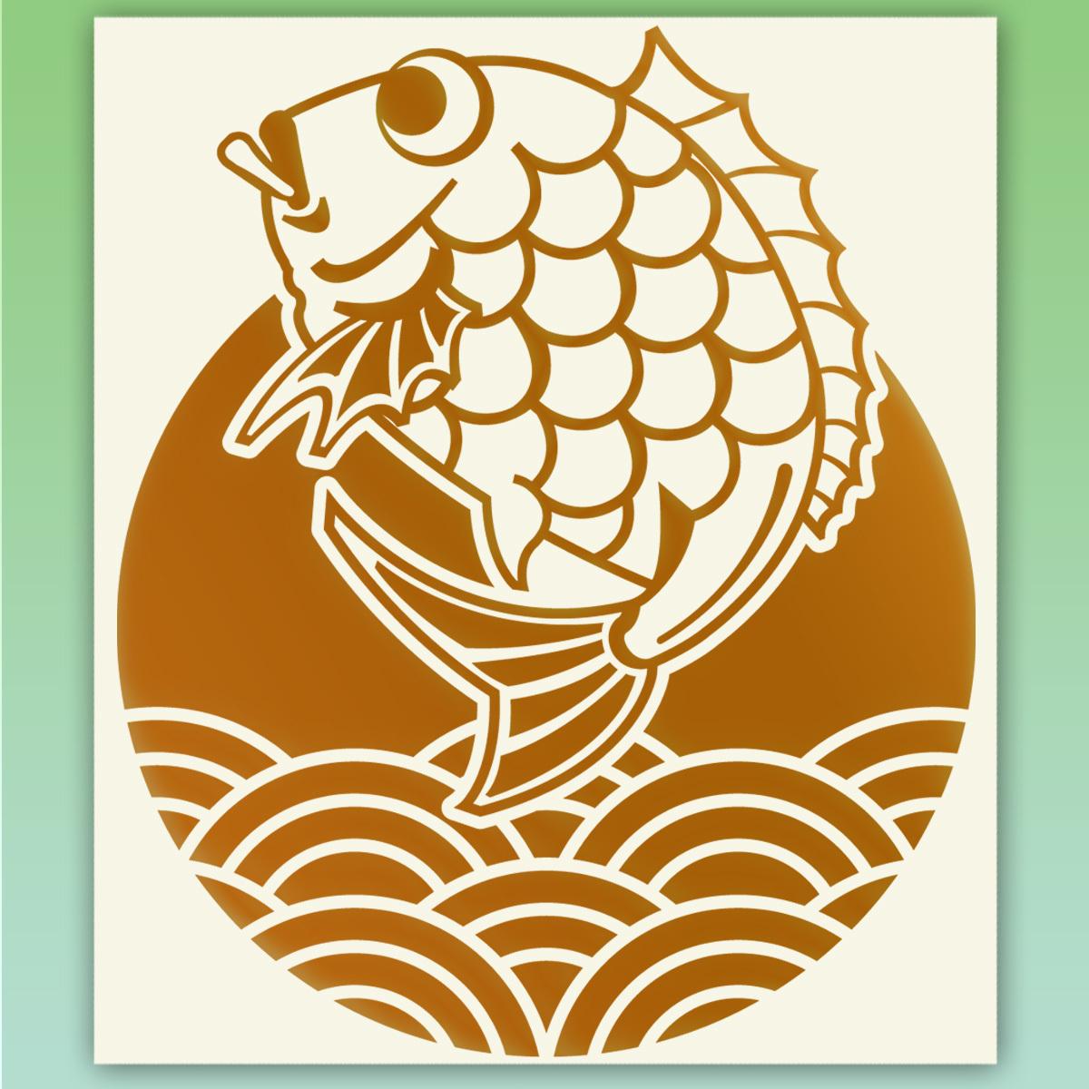 鯛と青海波 釣り フィッシングステッカー 金色または銀色  516_画像1