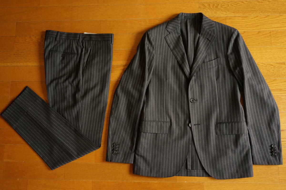 着用数回のみラルディーニ春夏定番スーツ46グレーストライプ16万円定番だからこそLARDINIでイタリア製セットアップジャケットPT011904-0525_画像2