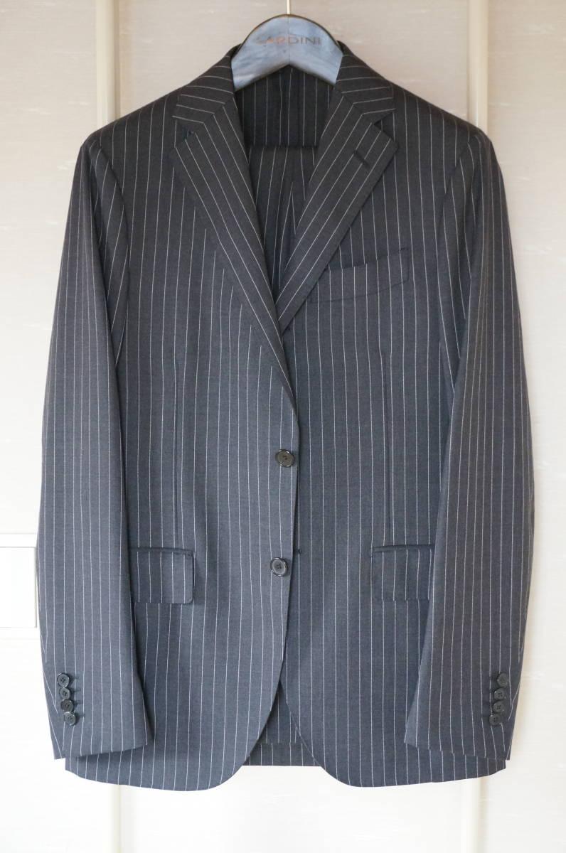 着用数回のみラルディーニ春夏定番スーツ46グレーストライプ16万円定番だからこそLARDINIでイタリア製セットアップジャケットPT011904-0525_画像3