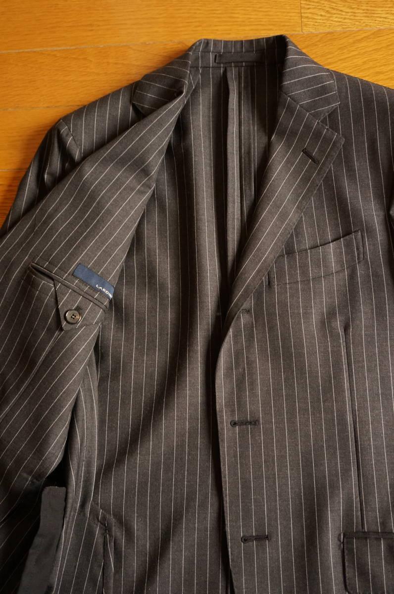 着用数回のみラルディーニ春夏定番スーツ46グレーストライプ16万円定番だからこそLARDINIでイタリア製セットアップジャケットPT011904-0525_画像4