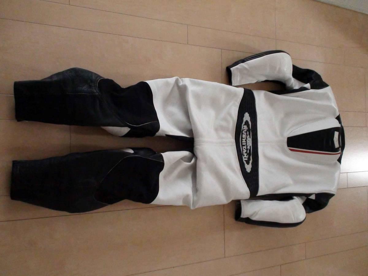 レーシングスーツ KUSHITANI クシタニ サイズLL/XL ホワイト/ブラック MFJ公認 K-0065XX GLIDE SUIT 一度のみ使用の美品_画像3