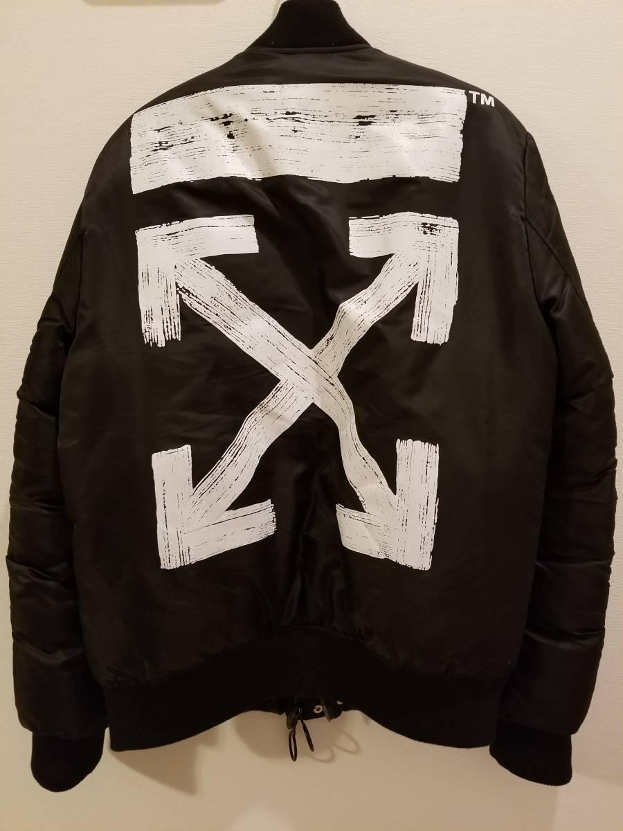 オフホワイト OFF WHITE MA-1 ボンバージャケット 黒 ブラック Mサイズ off-white バックロゴ プリント ブルゾン