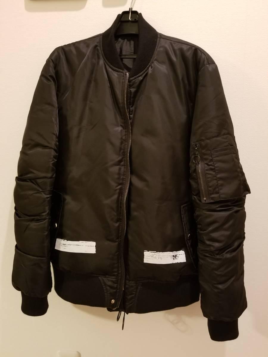 オフホワイト OFF WHITE MA-1 ボンバージャケット 黒 ブラック Mサイズ off-white バックロゴ プリント ブルゾン_画像2