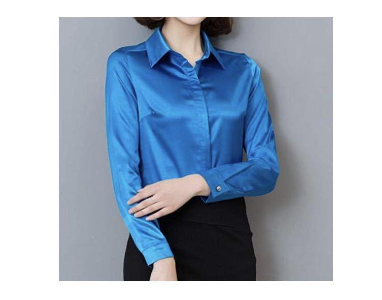 サテン 長袖 ブラウス シャツ シンプル 無地 華やか 衣装 上品 オフィス OL ベリー 濃いピンク XXL KIRITOA fabulous ファビュラス