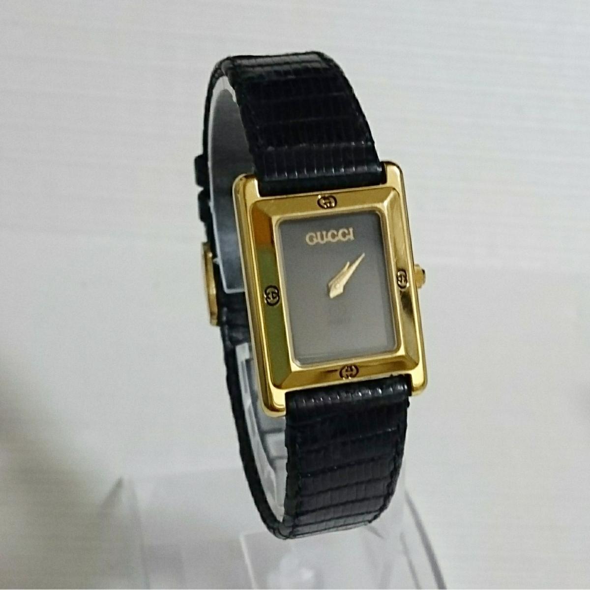 腕時計 グッチ 4100L スクエアブラック文字盤 レディース腕時計