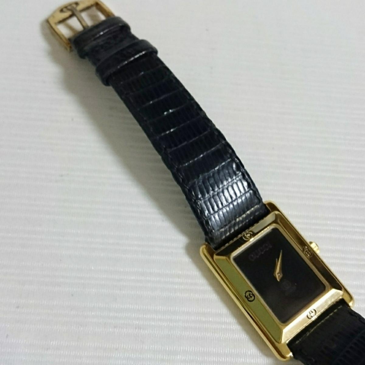腕時計 グッチ 4100L スクエアブラック文字盤 レディース腕時計_画像3