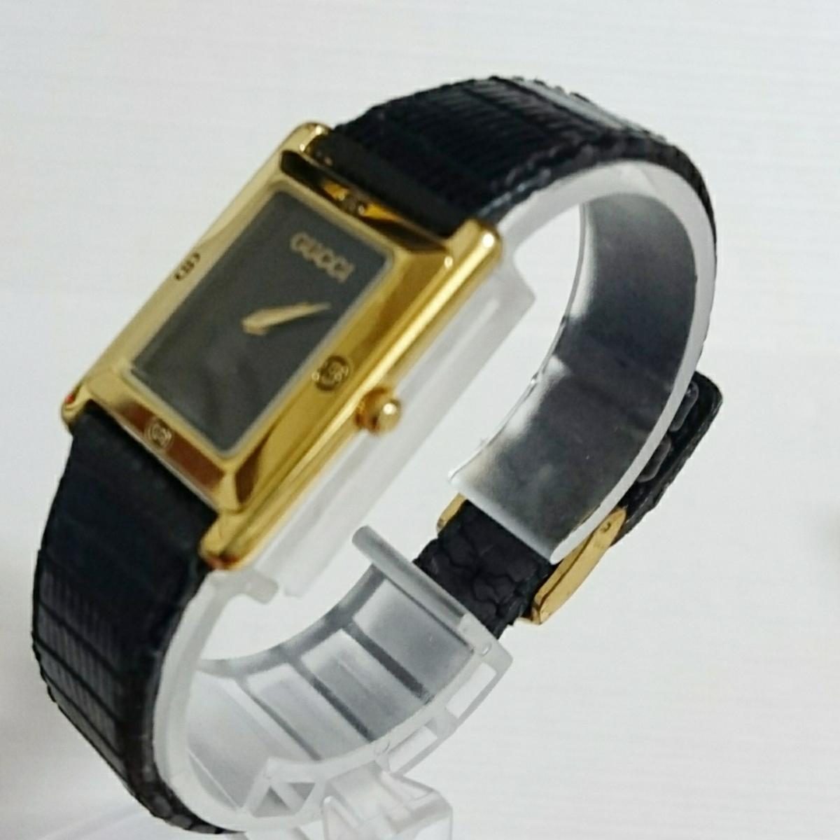 腕時計 グッチ 4100L スクエアブラック文字盤 レディース腕時計_画像7