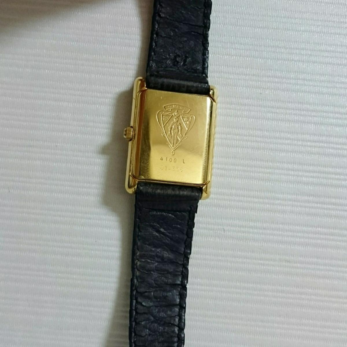 腕時計 グッチ 4100L スクエアブラック文字盤 レディース腕時計_画像4