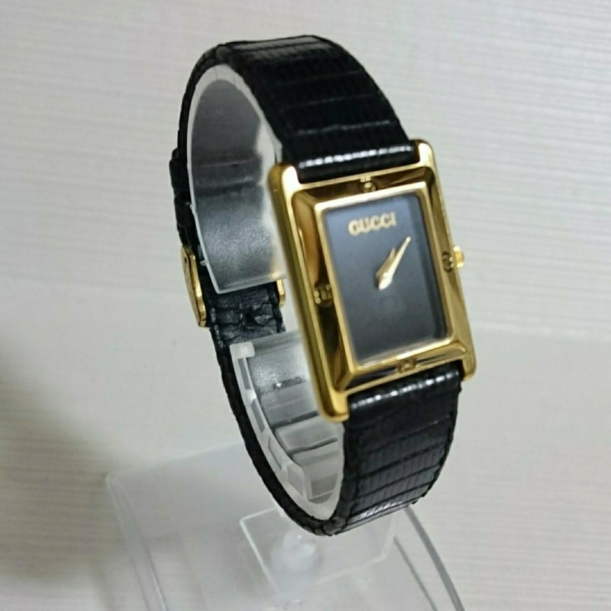 腕時計 グッチ 4100L スクエアブラック文字盤 レディース腕時計_画像2