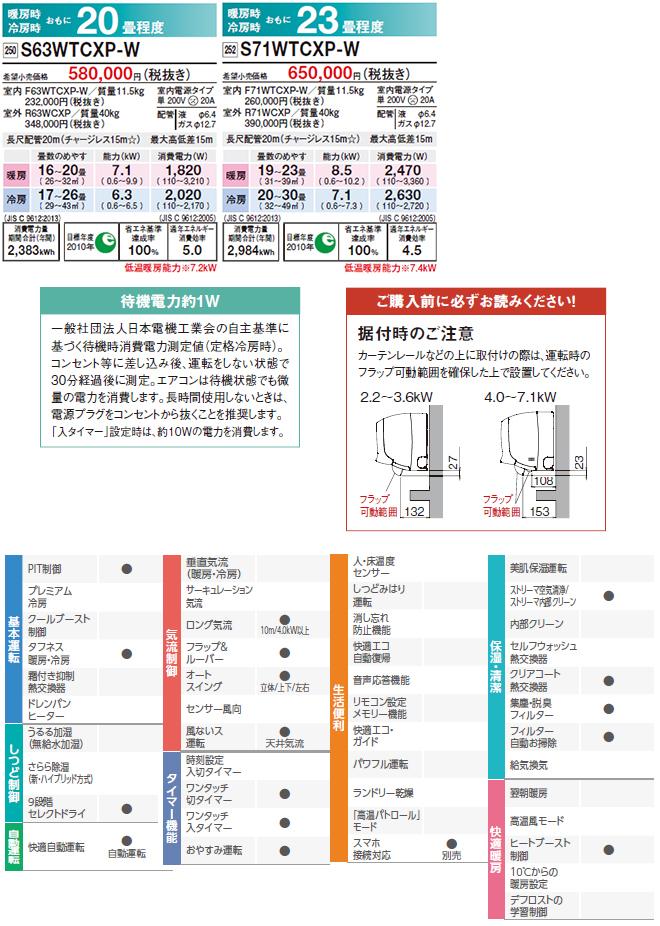 新品2019年製ダイキンエアコン20畳用 住宅用エアコン 壁掛形 CXシリーズ S63WTCXP-W室内F63WTCXP-W室外R63WCXP_画像5