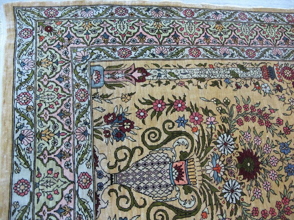 逸品!緻密10ノット 最高級シルク ペルシャ絨毯 玄関マットサイズ 93×66_画像5