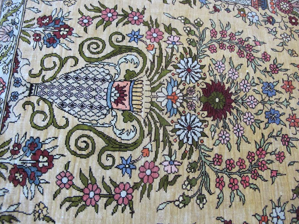 逸品!緻密10ノット 最高級シルク ペルシャ絨毯 玄関マットサイズ 93×66_画像9