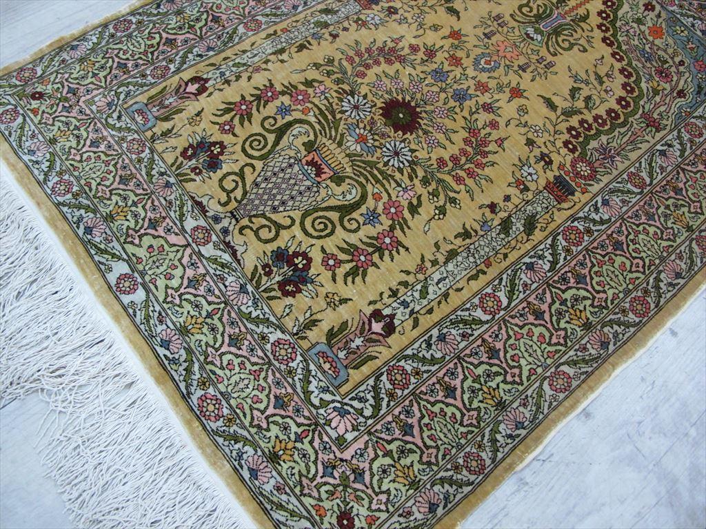 逸品!緻密10ノット 最高級シルク ペルシャ絨毯 玄関マットサイズ 93×66_画像3