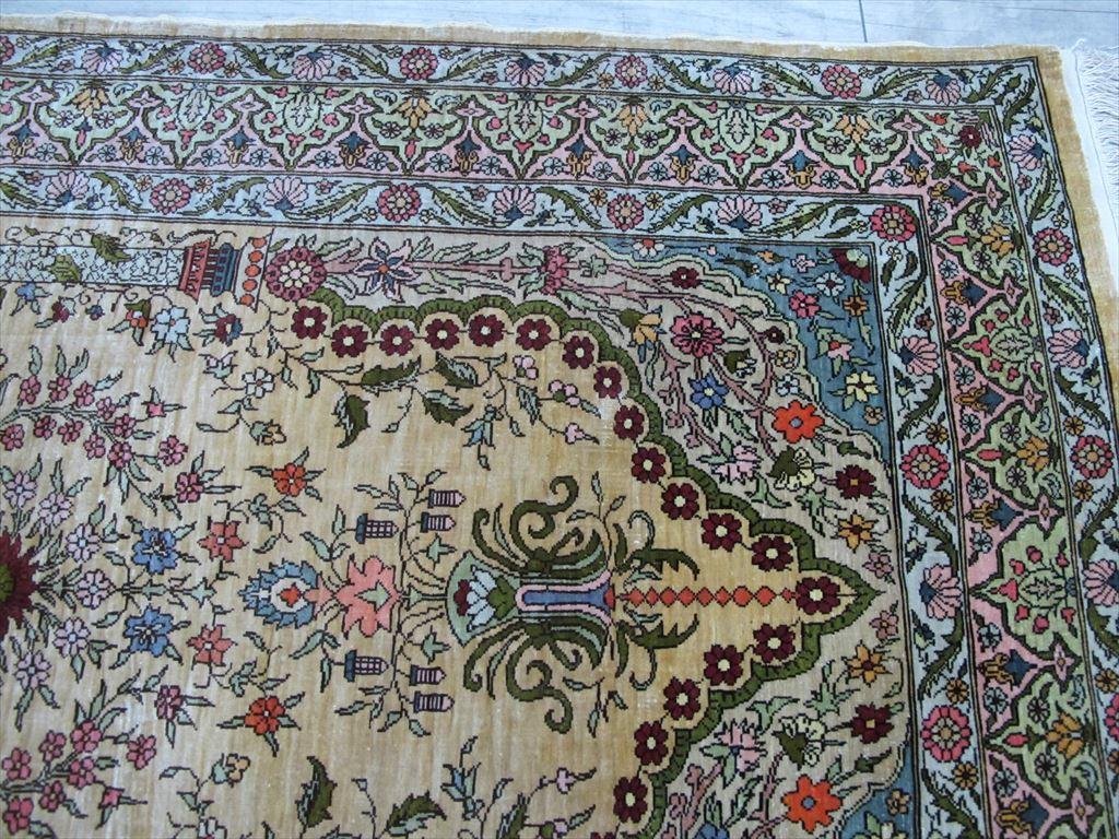 逸品!緻密10ノット 最高級シルク ペルシャ絨毯 玄関マットサイズ 93×66_画像6