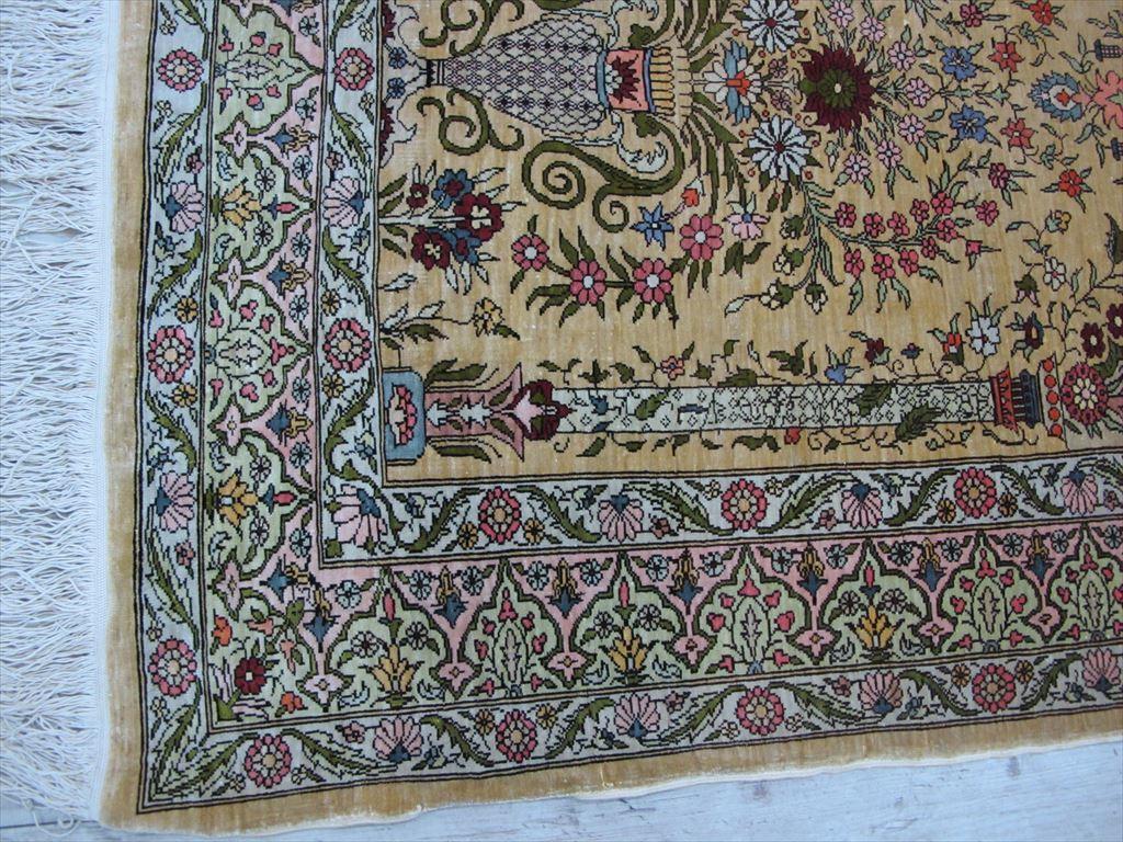 逸品!緻密10ノット 最高級シルク ペルシャ絨毯 玄関マットサイズ 93×66_画像7