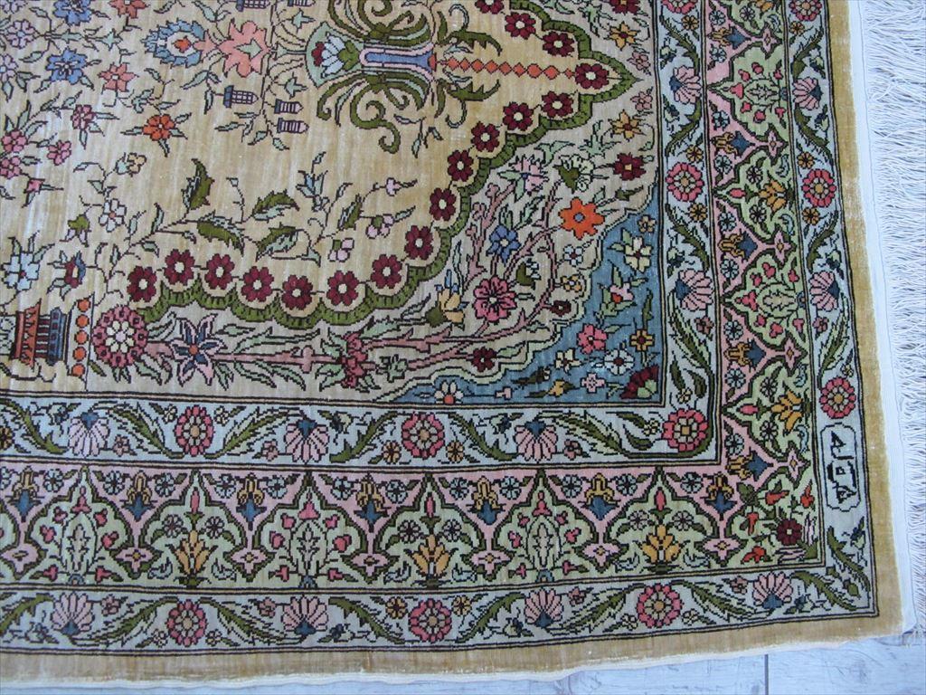 逸品!緻密10ノット 最高級シルク ペルシャ絨毯 玄関マットサイズ 93×66_画像8