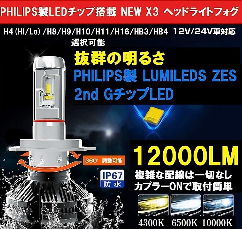 送料無料 PHILIPS 2019年究極版 NEW X3 LED ヘッドライトフォグ 12000LM 左右2個 H4/H8/H9/H10/H11/H16/HB3/HB4 10000K/6500K/4300K変更可