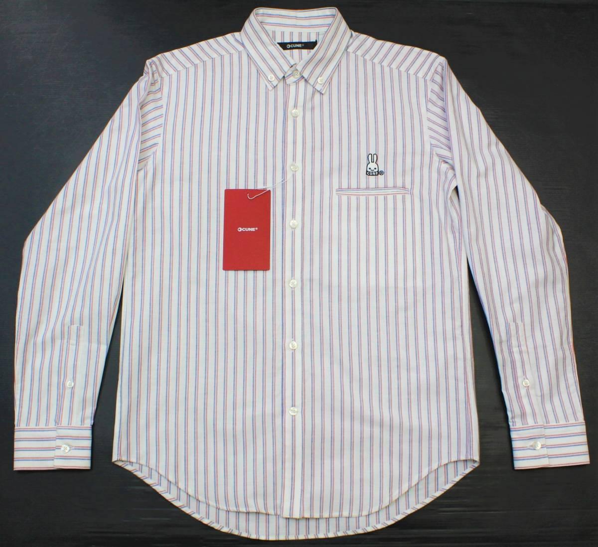 CL13キューン2(M)ボタンダウン 長袖シャツ ストライプCUNE日本製 切り込みポケット シャツ ウサギ 刺繍_画像2