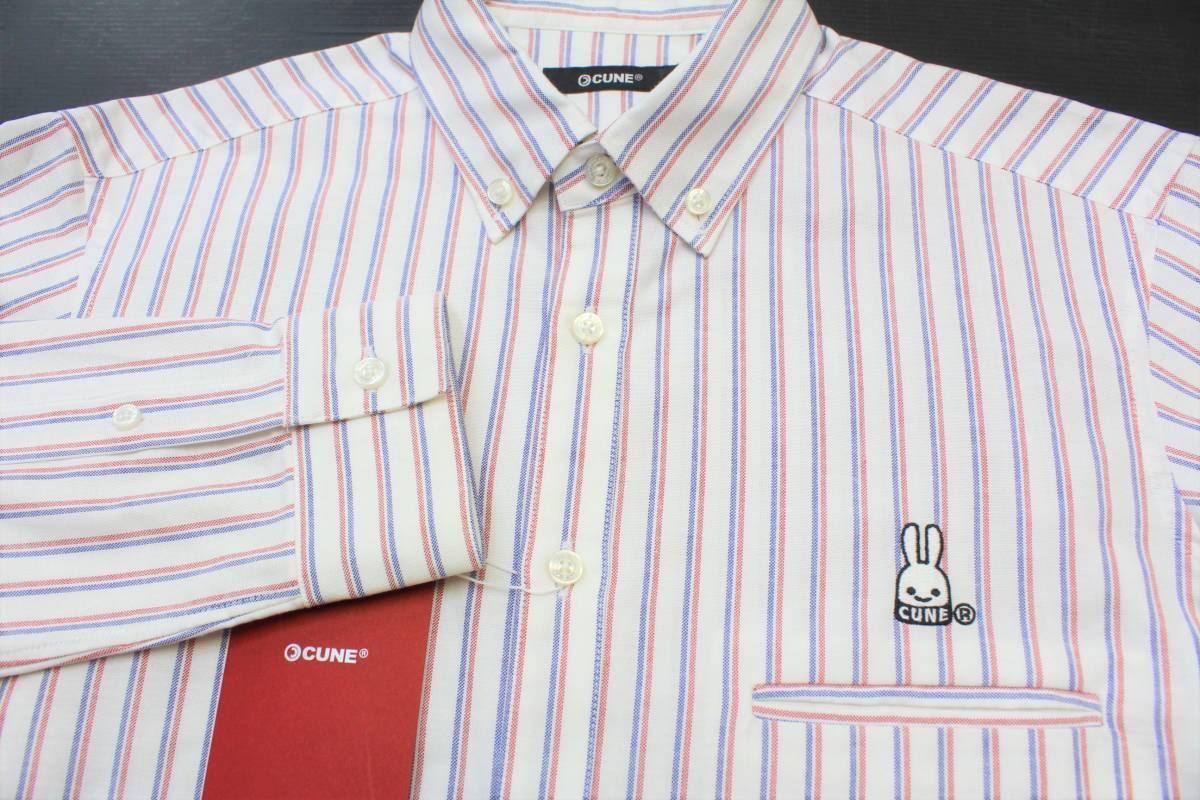 CL13キューン2(M)ボタンダウン 長袖シャツ ストライプCUNE日本製 切り込みポケット シャツ ウサギ 刺繍_画像4