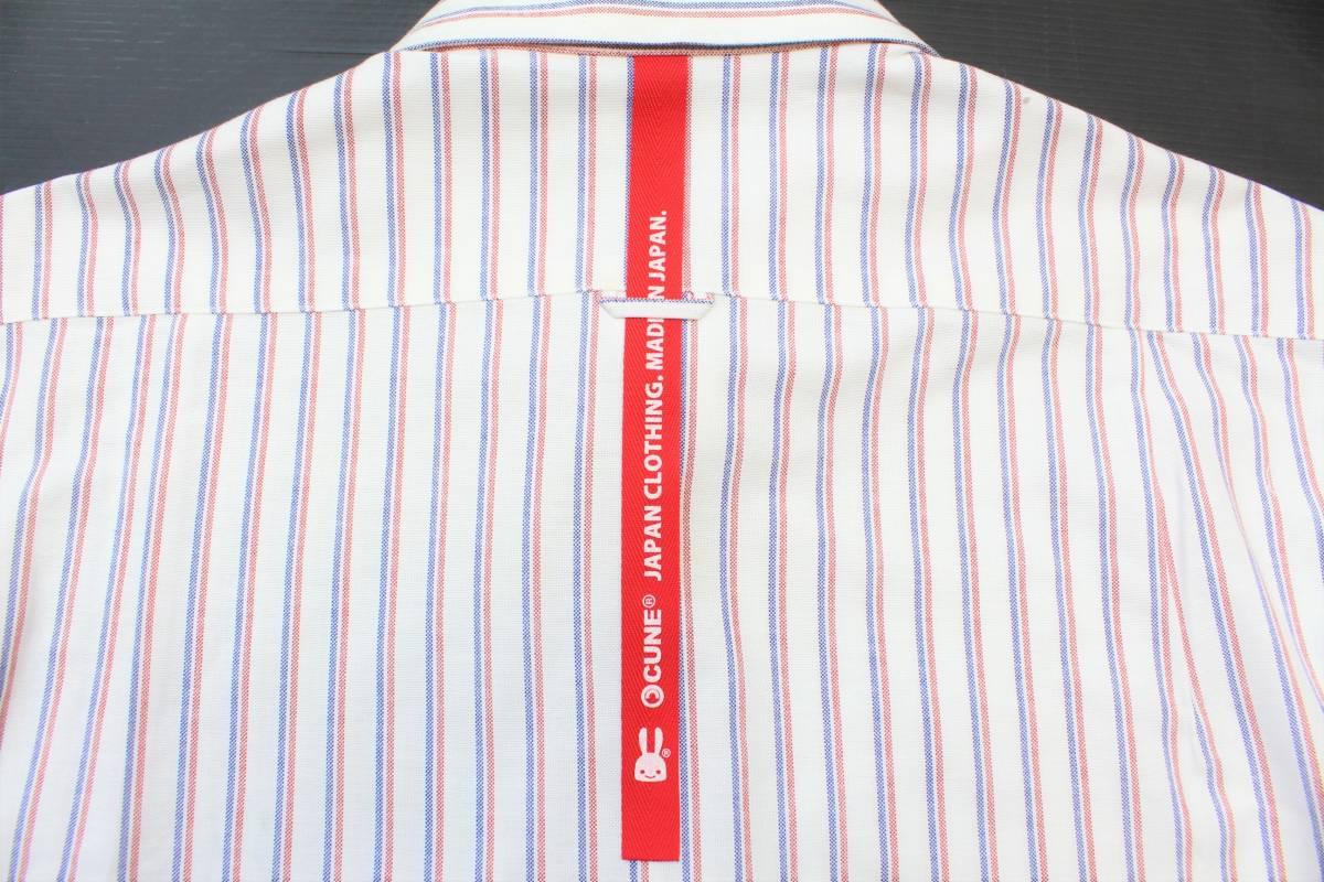CL13キューン2(M)ボタンダウン 長袖シャツ ストライプCUNE日本製 切り込みポケット シャツ ウサギ 刺繍_画像6