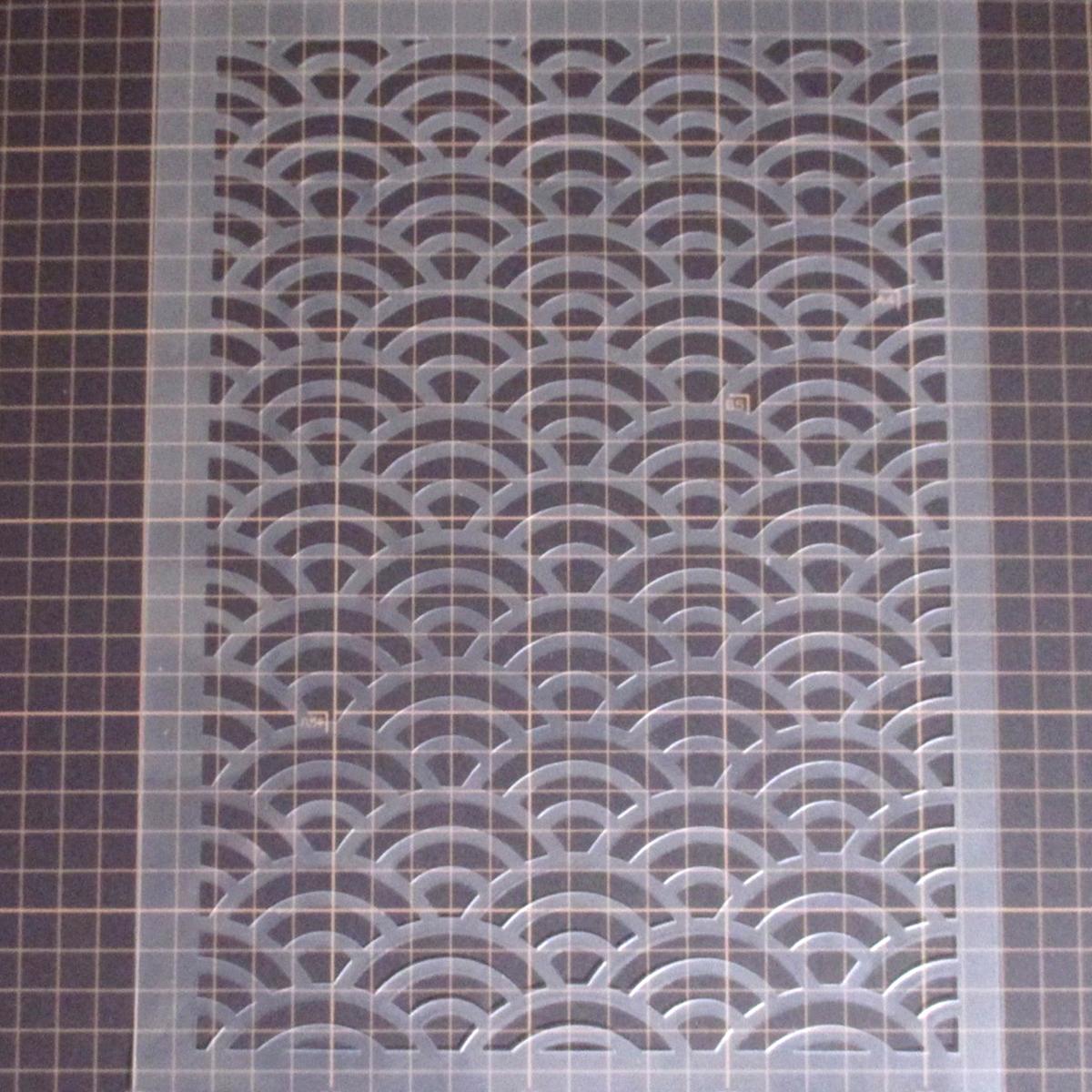 青海波 和風地紋5番 NO235 ステンシルシート 型紙図案_画像4
