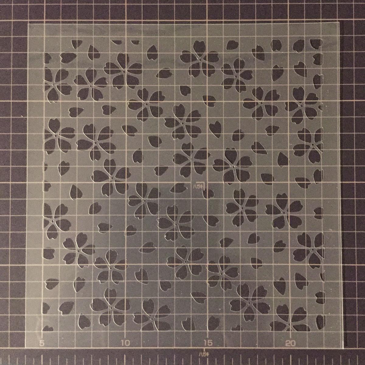 桜吹雪 散る花びら 和風デザイン さくら8番 ステンシルシート 型紙 図案 No558_画像5