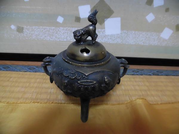 ★アンティーク 茶道具 香炉 金属製 三足香炉 共箱有★_画像1