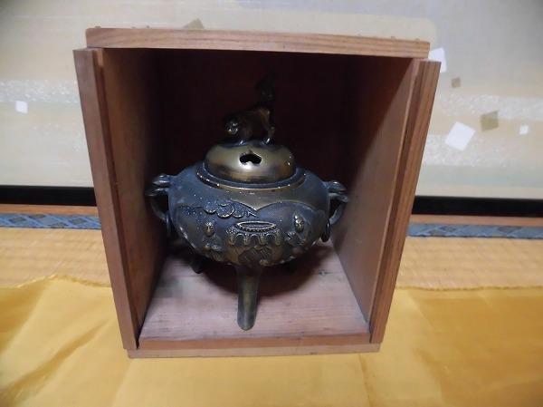 ★アンティーク 茶道具 香炉 金属製 三足香炉 共箱有★_画像2
