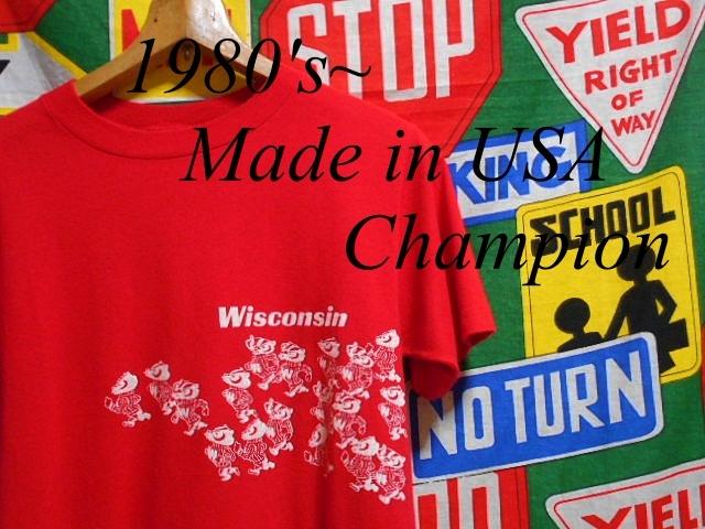 ★可愛い胴巻きプリント★Made in USA製アメリカ製ChampionチャンピオンビンテージカレッジTシャツ80s80年代トリコタグウィスコンシン大学_♪1980s~ Champion♪