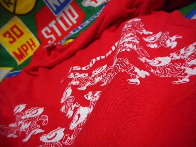 ★可愛い胴巻きプリント★Made in USA製アメリカ製ChampionチャンピオンビンテージカレッジTシャツ80s80年代トリコタグウィスコンシン大学_画像7