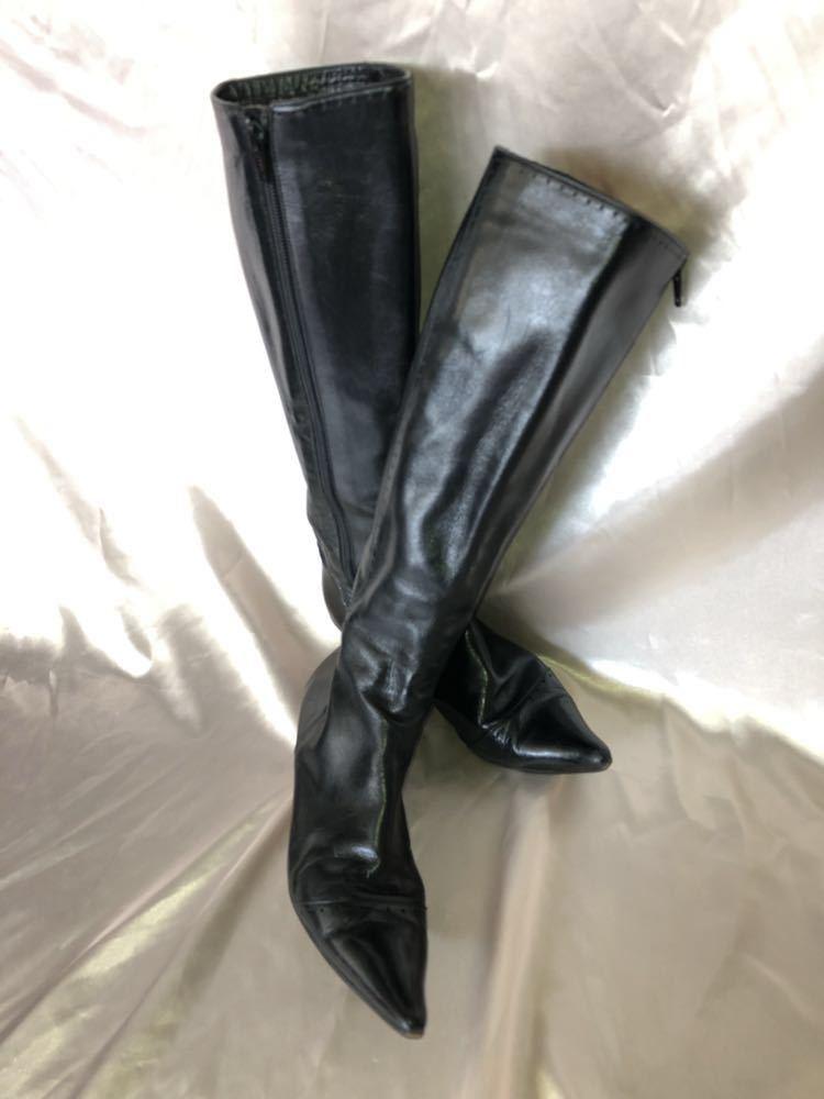 中古品 本革 艶あり ブラック ロングブーツ