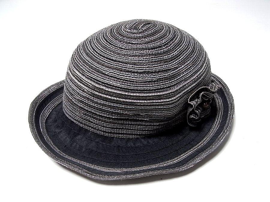 ★ボーラーハット 帽子 ブラック&ダークブラウン系 約57.5㎝ _画像1