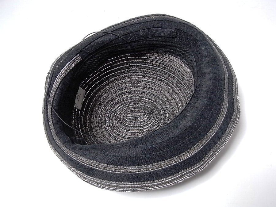 ★ボーラーハット 帽子 ブラック&ダークブラウン系 約57.5㎝ _画像3