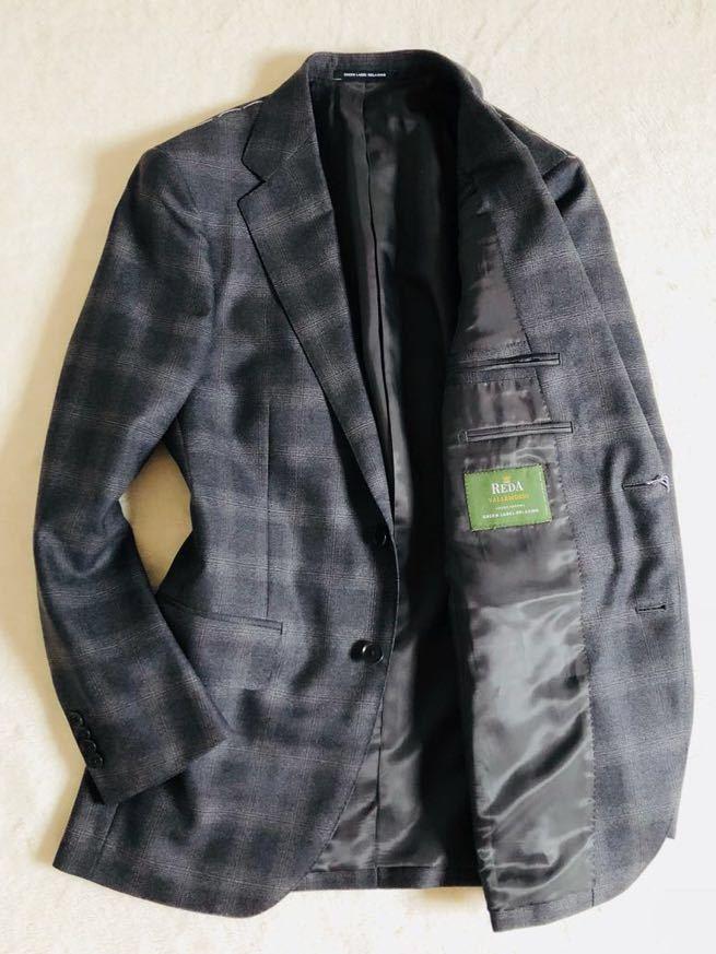 【ユナイテッドアローズ×REDA】新品S ダークグレー 別注VALLEMOSSO生地 大柄グレンチェック GreenLabelRelaxing スーツ セットアップ_画像3