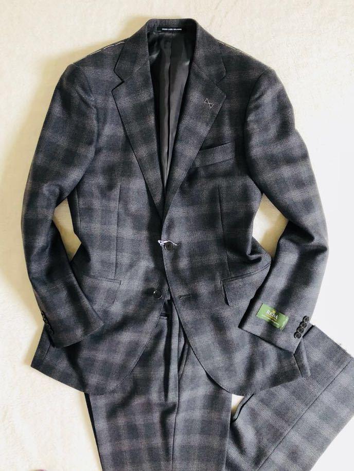 【ユナイテッドアローズ×REDA】新品S ダークグレー 別注VALLEMOSSO生地 大柄グレンチェック GreenLabelRelaxing スーツ セットアップ_画像2