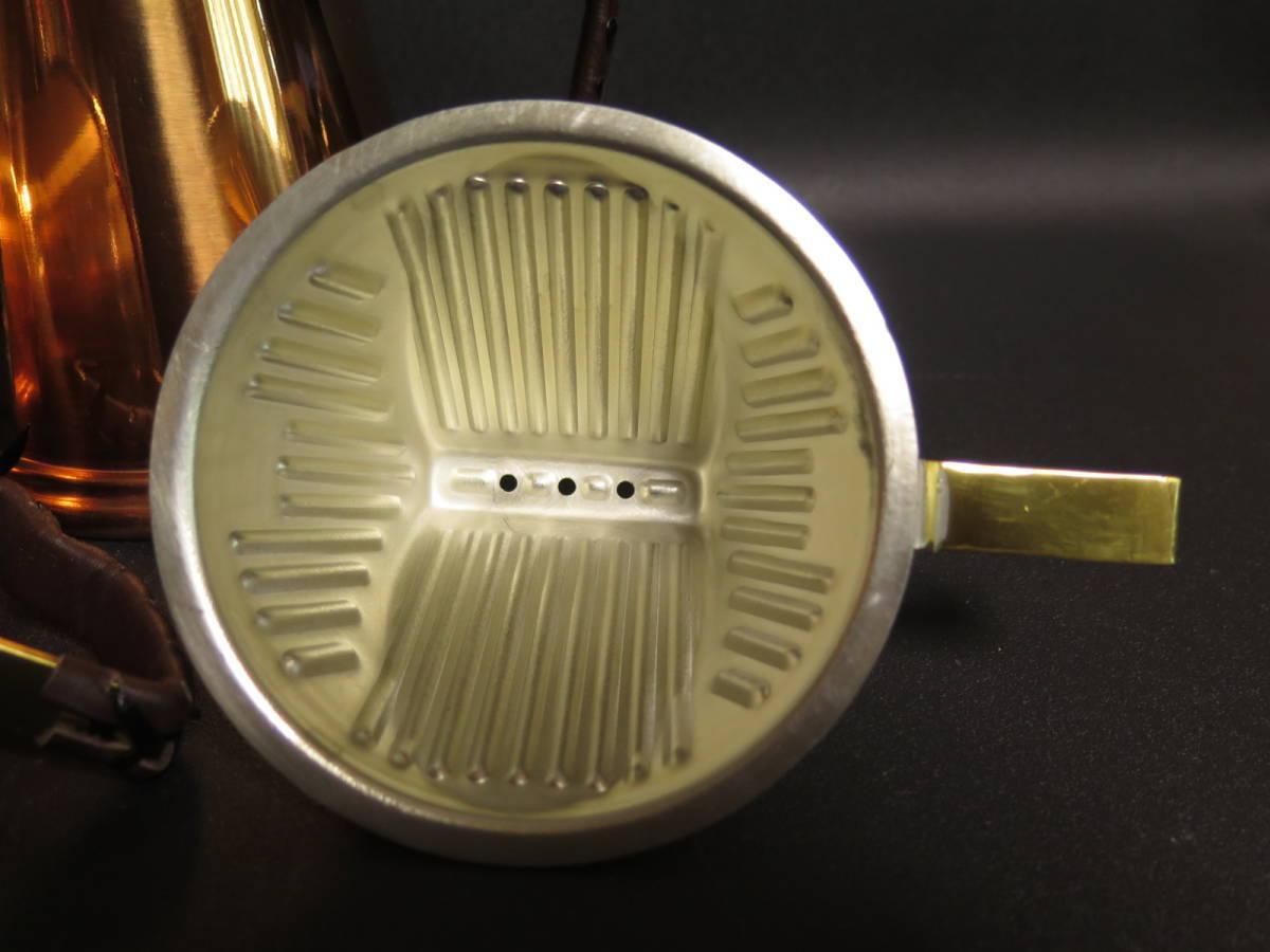 未使用保管品 覇薇可否道 (はらコーヒー) 銅製コーヒードリッパーとポットのセット 革ハンドル 布フィルター付き ポットは直火可能_画像7
