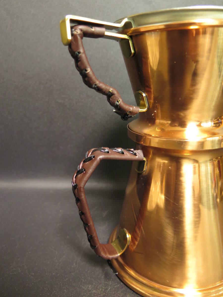 未使用保管品 覇薇可否道 (はらコーヒー) 銅製コーヒードリッパーとポットのセット 革ハンドル 布フィルター付き ポットは直火可能_画像5