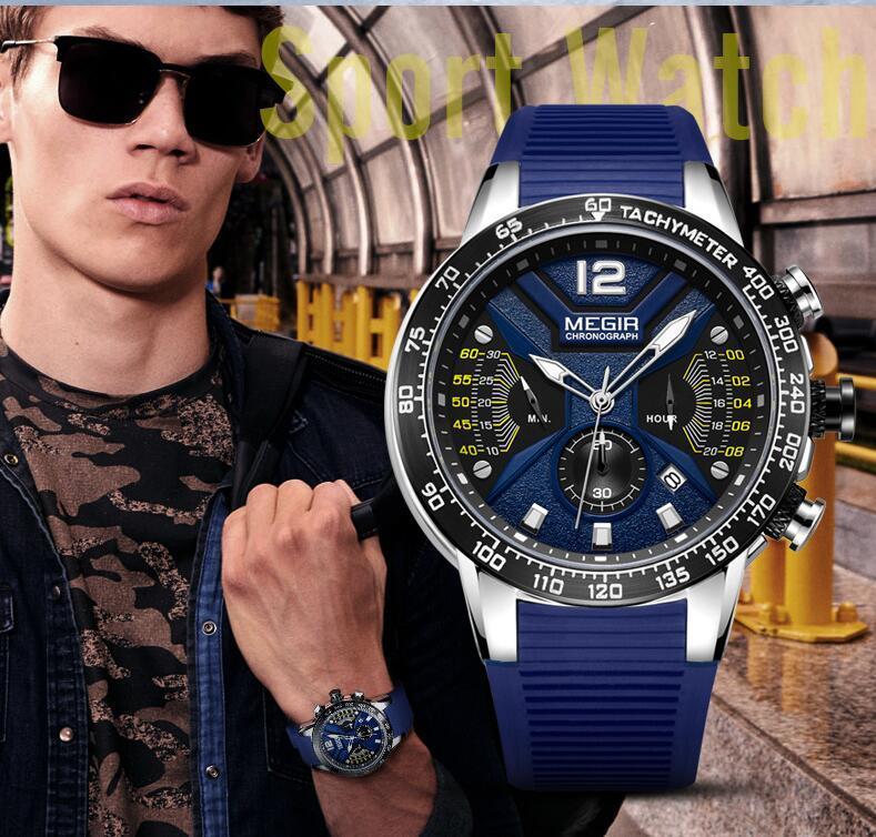 【定価31万円】正規品MEGIR 新品未使用ファッション メンズブルー腕時計クォーツ腕時計2068G