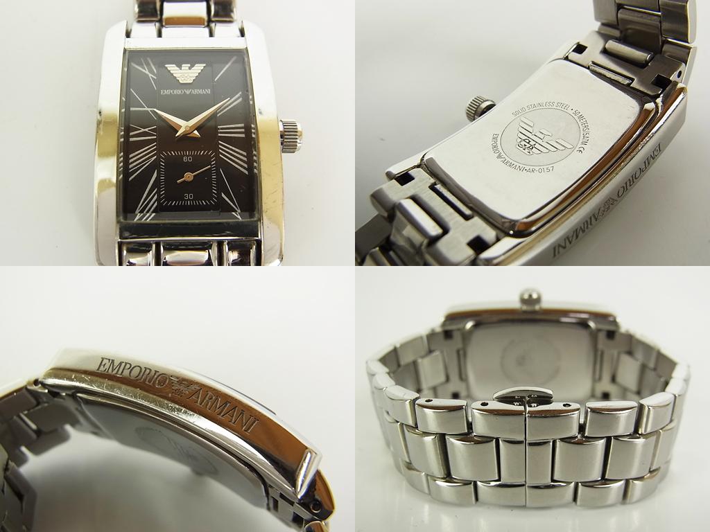 1円 グッチ エンポリオ アルマーニ テクノス ダイヤ ロゴ スモールセコンド デイト クォーツ 腕時計 ウォッチ 新品電池 動作品 4個セット_画像4