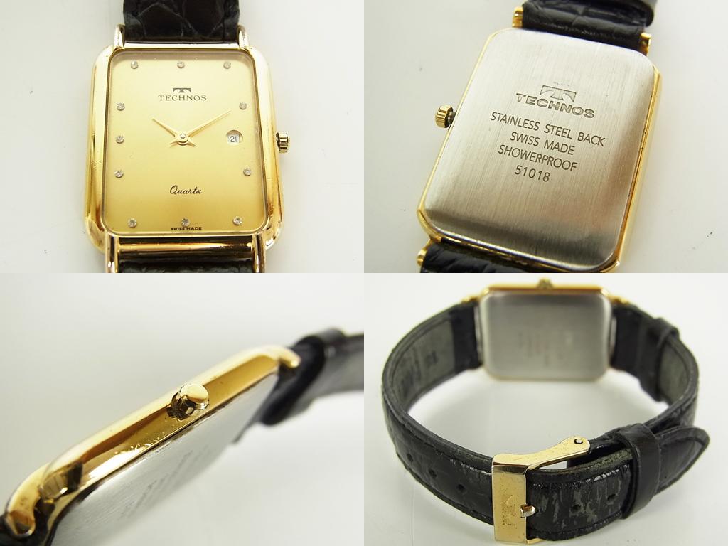 1円 グッチ エンポリオ アルマーニ テクノス ダイヤ ロゴ スモールセコンド デイト クォーツ 腕時計 ウォッチ 新品電池 動作品 4個セット_画像5