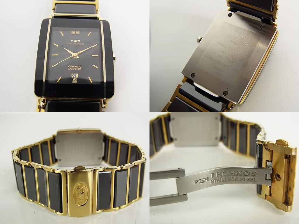 1円 グッチ エンポリオ アルマーニ テクノス ダイヤ ロゴ スモールセコンド デイト クォーツ 腕時計 ウォッチ 新品電池 動作品 4個セット_画像3
