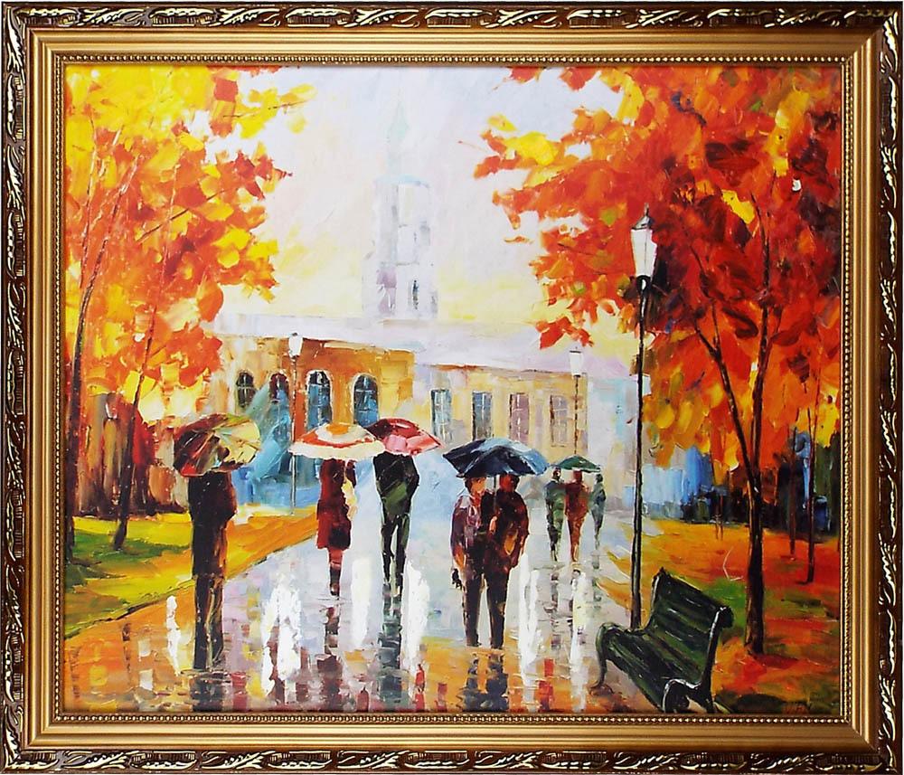 町の風景油絵「雨の中人々」額装付約70 x 60cm /玄関、リービング、寝室飾り用絵画 / 店、新築、事務所、クリニックにも人気の油彩画傑作!