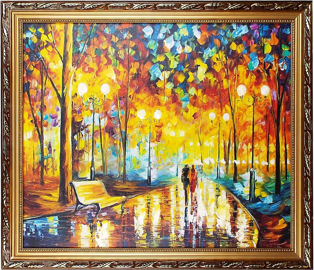 町風景油絵「雨中のカッブル」額寸約70x60cm /玄関、リービング、寝室飾り用絵画 / 店、新築、事務所、クリニックにも人気の油彩画傑作!
