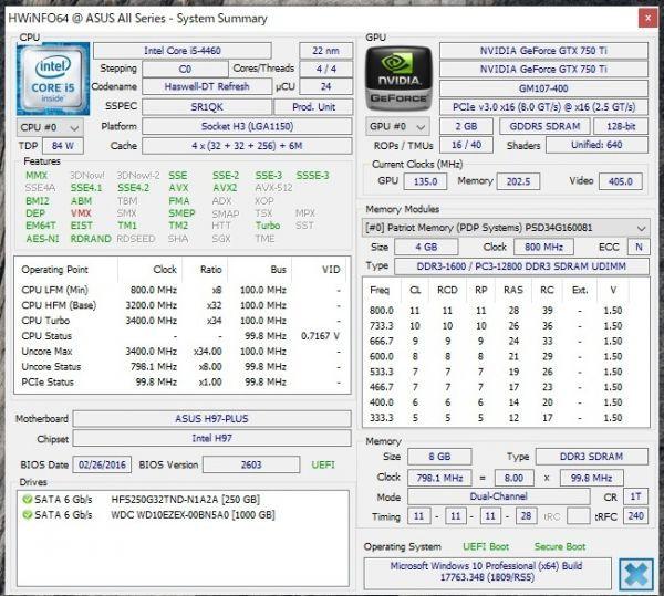 自作ゲーミングPC i5-4460 GTX750Ti SSD250GB メモリ8GB HDD1TB 500w win10 Pro 64bit ASUS H97-PLUS DVD_画像4