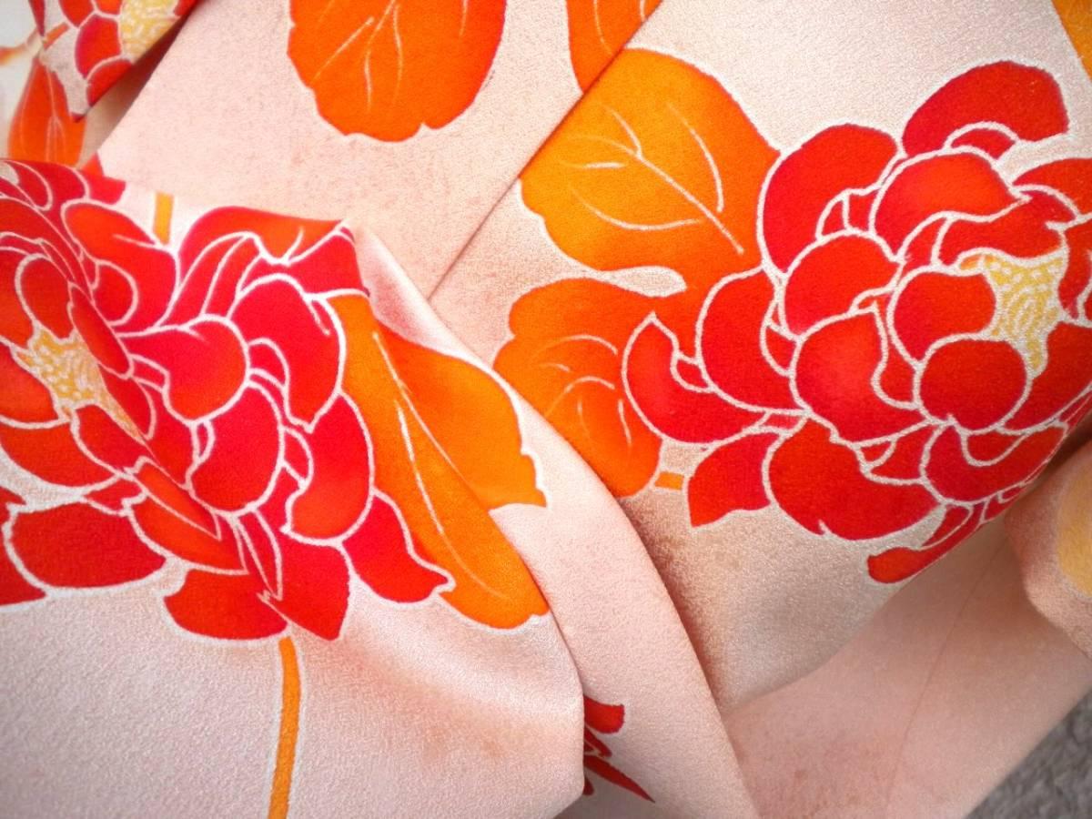 55f6a06b664e ... サイズ新品反物使用着物生地リメイク正絹綸子縮緬結婚式ドレス桜色菊花模様☆. 商品數量: :1