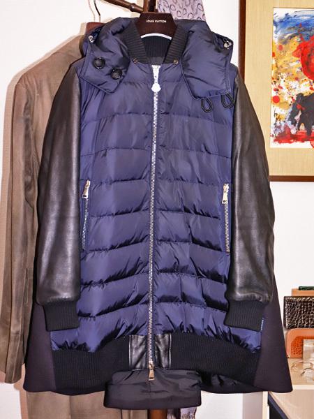 国内正規品 モンクレール 超レアモデル 三種素材ラムレザーアームダウンコート サイズ1 ダウンジャケット ハンガリー製 MONCLER 本物