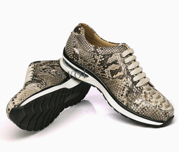 本物保証 限定版 蛇の皮 スニーカー 本物 レザー 紳士 運動靴 滑り止め 最高級品 スポーツ/レジャー 商務 ビジネス メンズ靴シューズ 新品