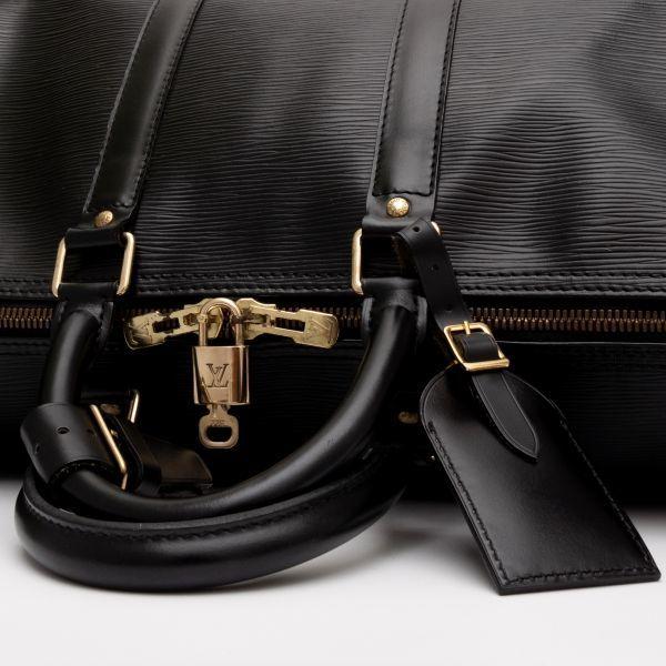 【極美品】ルイヴィトン Louis Vuitton エピ キーポル45 ボストンバッグ ノワール 旅行バッグ かばん 鞄 レザー 定価約24万_画像8