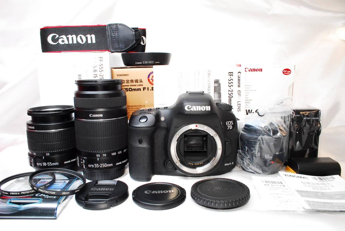 【極上美品 トリプルレンズ】Canon EOS 7D Mark II ★手ブレ×望遠×単焦点(新品) EF-S18